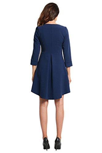 Kleid Kellerfalte Marineblau trapezförmiges Awama Elegantes mit wy8qRKpE