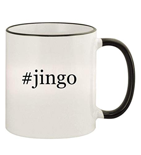 #jingo - 11oz Hashtag Colored Rim and Handle Coffee Mug, Black -