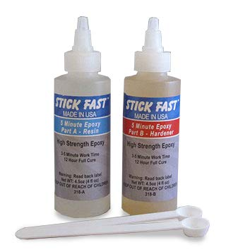 4 Clear Shelf Inlay - Stick Fast 318 CA 5 Minute Epoxy Kit, clear