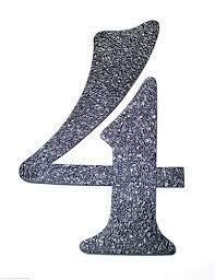 Number: 4 Black Embossed Magnetic House Numbers Great for Garage Doors