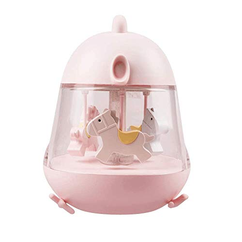 WHATOOK Carousel Music Box Light Rotate Horse Gifts Night Lamp with Timer&Touch Switch Rainbow Musical Toys Gift for Kids,Girls(Pink Carousel) (Music Shower Box)