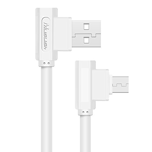 Price comparison product image Micro USB Cable,Muslish Right Angle USB Charging Cable 3ft 10,000+ Bend Lifespan Fast Charging Cable for Samsung, Nexus, LG, Motorola, Android Smartphones and More(White)