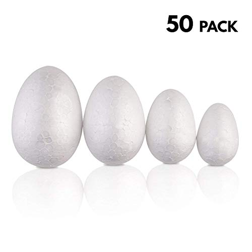 Easter Foam - 50 Pack - Large Set Assorted Styrofoam Easter eggs - Variety of Sizes - Ideal Easter Children Arts & Craft Gift for cutting, shaping & painting decorations