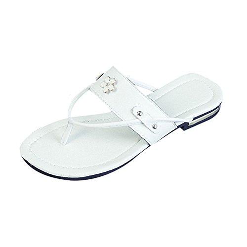 Ularma Zapatillas zapatos planos mujer sandalias resistentes del resbalón blanco