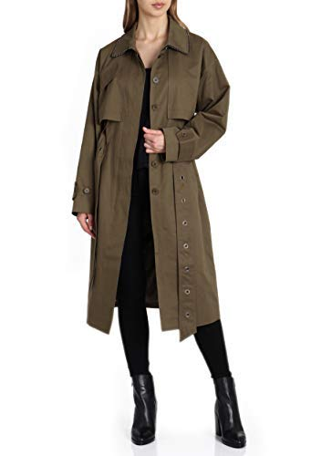 Badgley Mischka Women's Military Inspired Cotton Trench Coat with Beaded Trim, Charcoal, Extra Small ()