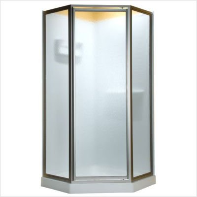 - American Standard AMOPQF2436 Neo Angle Tall Framed Hammered Glass Shower Door, 68#1/2-Inch