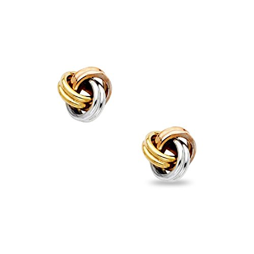 Love Knot Stud Earrings 14k Yellow White Rose Gold Twisted Studs Fancy Design Tri Color 7 x 7 mm -