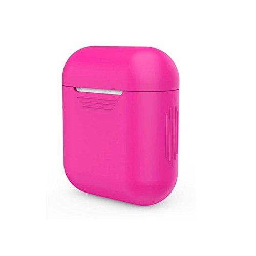 LYRIC Hot Pink Fuchsia Silicone Shock Proof Protective Case Skin Cover for Apple AirPods Wireless Headphone