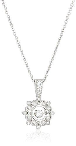 Twinkle Flowers (Platinum-Plated Swarovski Zirconia Twinkle Vintage Flower Pendant Necklace, 16