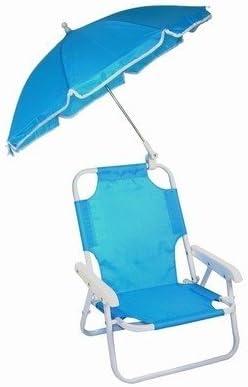 Silla de playa con sombrilla para niños, color azul: Amazon ...