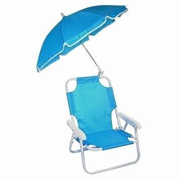Childrenu0027s Parasol Chair   Kids Deckchair U0026 Parasol Set BLUE   Beach Chair