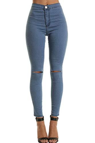 Pantalones Largos Bolsillo yulinge Mujeres Destoryed con Denim Azul Las Jeans Rasgado WqYSfqgA