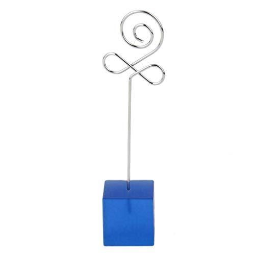 (BROSCO Bud Wire Memo Paper Note Recipe Clip Photo Place Card Badge Holder Blue Base)
