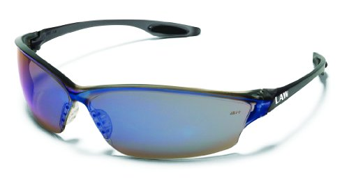 Crews LW218 Law 2 Safety Glasses Polycarbonate Blue Mirror Lens, 1 Pair (Blue Mirror Safety Glasses)