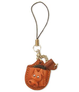 Horse Leather Equine Magnifying glass Phone Charm Made in Japan *VANCA CRAFT*
