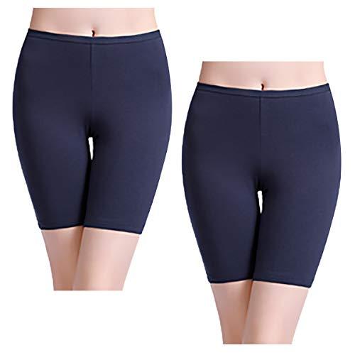 wirarpa Women's 2 Pack Cotton Underwear Boy Shorts Under Dresses Long Leg Panties Anti Chafe Bloomers Bike Shorts Deep Blue Size 7