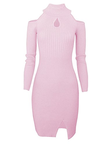 Cold Shoulder Sweater Dress Slim Fit Knit Front Keyhole | Turtle Neck Sweater Dress