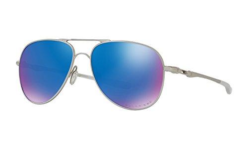 Oakley Elmont Large Aviator Sunglasses Satin Chrome w/ Sapphire Iridium Polarized Lens + - Oakley Elmont Large