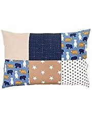 Funda de almohada para bebé de ULLENBOOM ® de 40x60 cm con beige oso (con cremallera; apta también para cojines decorativos; dibujo:patchwork)