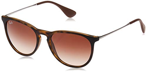 Ray-Ban RB4171 Erika Round Sunglasses, Dark Rubber Tortoise/Brown Gradient, 54 mm (Ray Ban Eyeglasses Made In Italy)
