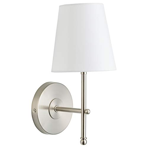 Nickel One Light Sconce - Tamb Wall Sconce 1-Light Fixture with Fabric Shade - Brushed Nickel - Linea di Liara LL-SC201-BN