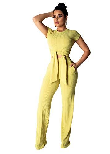 Women's 2 Piece Outfits Bodycon Jumpsuit Slim Crop Top Shirts Wide Leg Pants Set Yellow