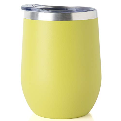 ONEB Stainless Steel Wine Tumbler with Lid, 12 OZ | Double Wall Vacuum Insulated Travel Tumbler Cup for Coffee, Wine, Cocktails, Ice Cream Cup With Lid (yellow, 12OZ-1pack)