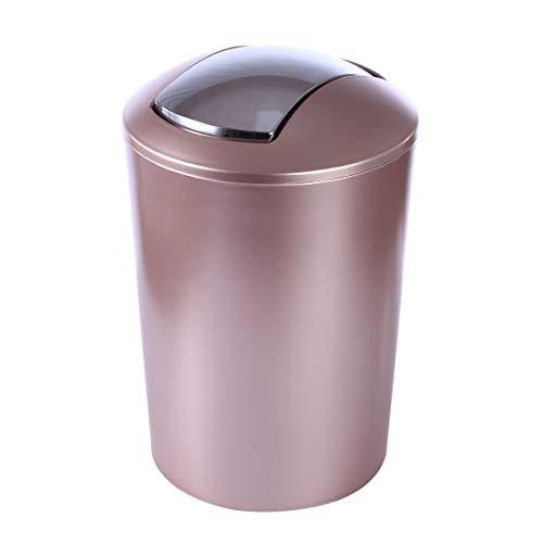 (HMANE 6.5L Swing Lid Trash Can,Wastebasket Dustbin Garbage Bin with Swing Top - (Rose Gold))