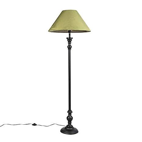 con de pie Rústico pantalla Lámpara QAZQA de negra eYEDI9W2H