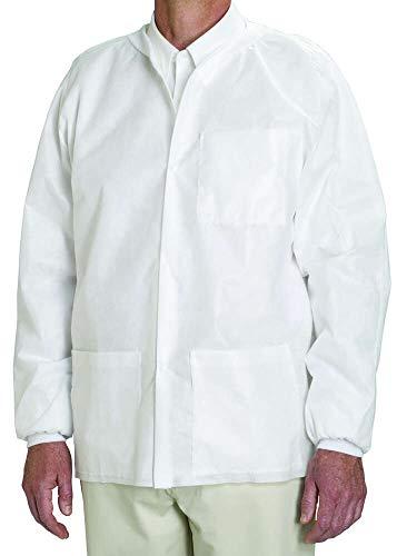(MediChoice Staff Jackets, Knit Collar/Cuff, Snap Front, Fluid-Resistant, Spunbond Meltblown Spunbond, Medium, White (Case of 25))