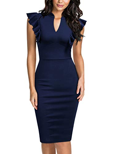 Knitee Women's Ruffle Standing Collar V-Neck Bodycon Cocktail Pencil Dress,Large,Navy Blue