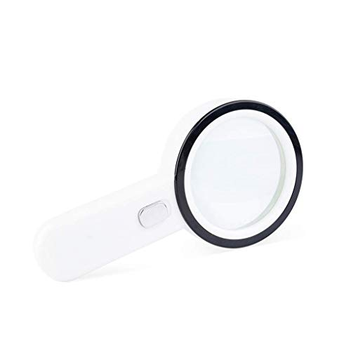 Reading High Magnifier Definition - HYFF HD Magnifier Handheld Magnifying Glass with LED Light, 30X High-Definition Glass Lens, Portable Old Man Reading Experiment Observation Jewelry Identification/White Lightweight