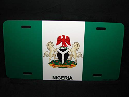 with Coat of Arms Novelty License Plate for Cars Nigerian Flag Auto Car Novelty Accessories License Plate Art ()
