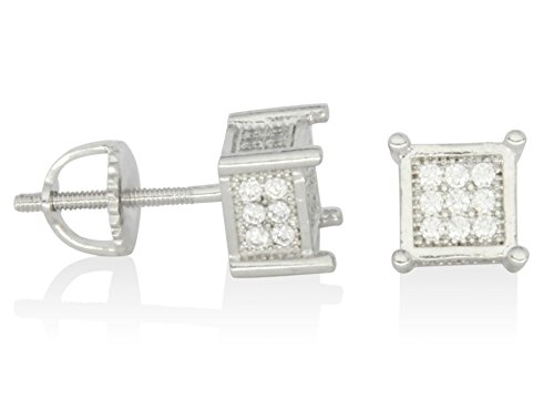 Icy Cubed 6mm Studs 14k or Silver Tone Cz Bling Screw Back Hip Hop Earrings (Silver) ()