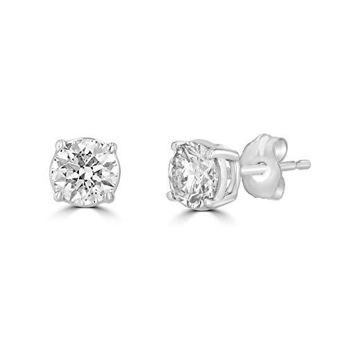 14K White, Rose & Yellow Gold Round Diamond Stud Earrings for Women (0.30 cttw and up IGL Certified) (White-Gold, 0.80) ()