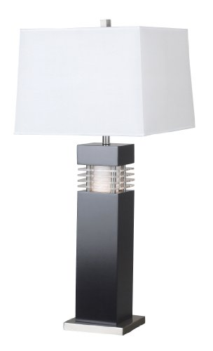 Kenroy Home 20109BL Wyatt Table Lamp, Black with Acrylic (Acrylic Accent Table Lamp)