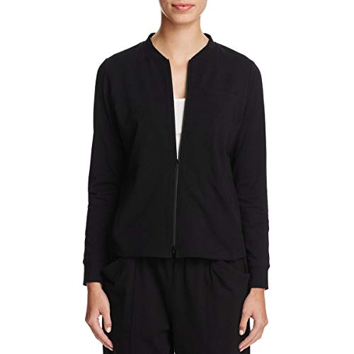 Eileen Fisher Womens Lightweight Zip Front Bomber Jacket Black S