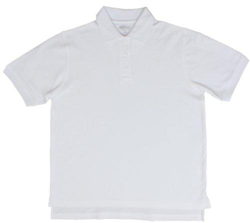 - 100% Cotton Elbeco Short Sleeve Polos for Men white-Medium
