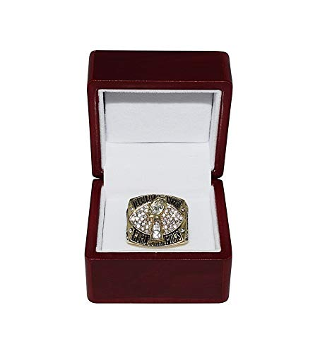 TAMPA BAY BUCCANEERS (Vincent Jackson) 2002 SUPER BOWL XXXVII WORLD CHAMPIONS Vintage Rare Collectible High-Quality Replica Football Gold Championship Ring with Cherrywood Display Box ()
