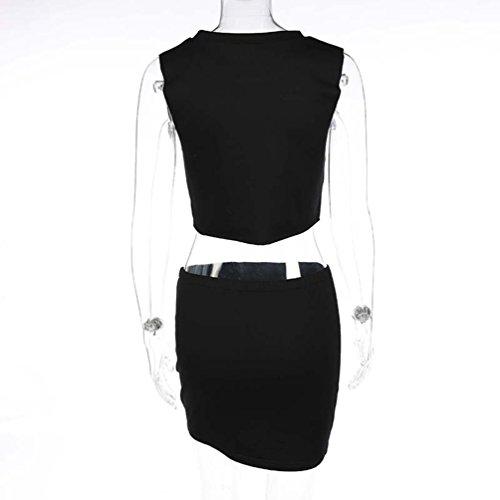 NiSeng Mujeres Moda Sin Mangas Crop Tops Corto Camiseta Mini Falda Casual 2 Piezas Set Negro