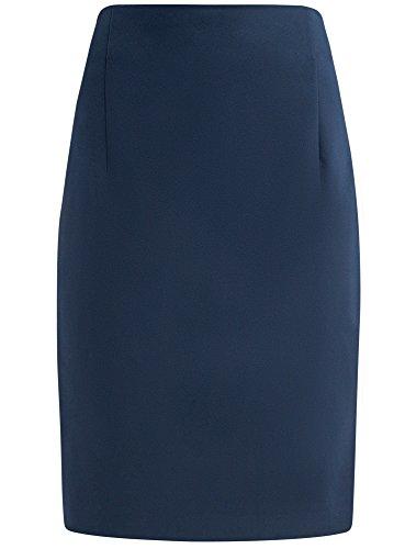 oodji Collection Mujer Falda Recta de Cintura Alta Azul (7400N)