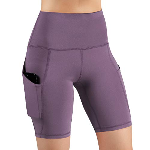 ODODOS High Waist Out Pocket Yoga Short Tummy Control Workout Running Athletic Non See-Through Yoga Shorts,Lavender,X-Small from ODODOS