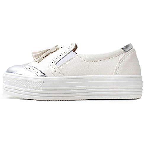 EpicStep Women's Silver Classic Wingtip Leather Slip On Platform Sneaker Oxfords Shoes 8 M US
