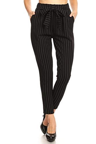 ShoSho Womens Loose Fit Jogger Harem Pants Casual Bottoms Twill Knit Semi Harem Stripe Print Black/White X-Large