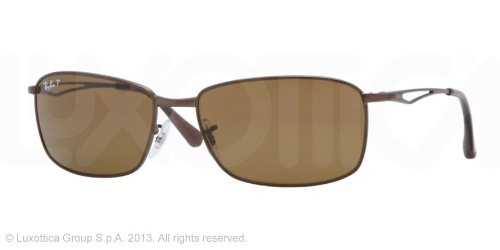 Ray Ban Mens Rb3501 Matte Brown Frame/Polarized Brown Lens Metal Sunglasses