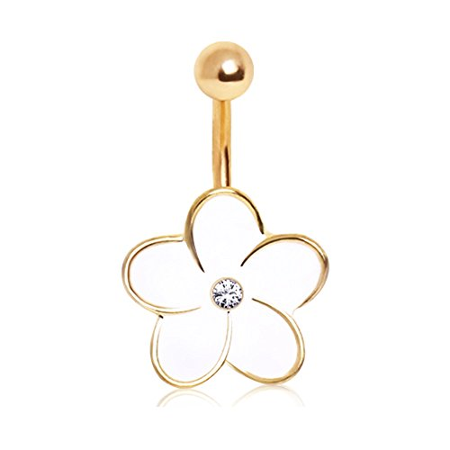 Hawaiian Enameled Flower Gold Ion Surgical Steel Belly Button Ring Navel B149 Gold Enameled Flower