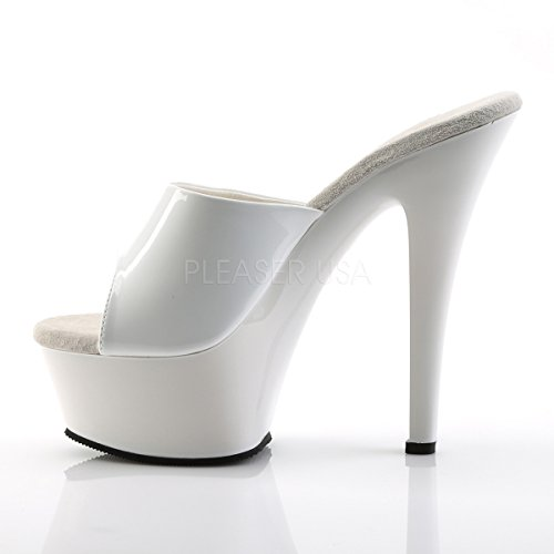 Slide PleaserUSA 201 Platform Tabledance Classic Patent White Kiss Gogo Womens XwwCqOg