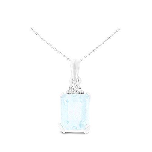 White Gold Diamond Square Pendant - 14K White Gold 6 x 8 mm. Emerald Cut Aquamarine and Diamond Pendant With Square Rolo Chain Necklace