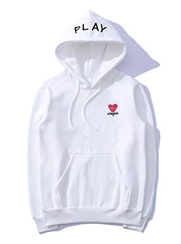 (112 - Play Heart Comme Love Sweatshirt Hoodie Black White (5))