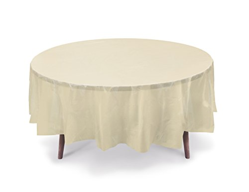 Gift Expressions 5-Pack Premium 84 Inch. Disposal Round Plastic Table Cover- Outdoor, Indoor Party, Picnic, Events, Ceremony(Ivory) (Ivory Table Cover Plastic)